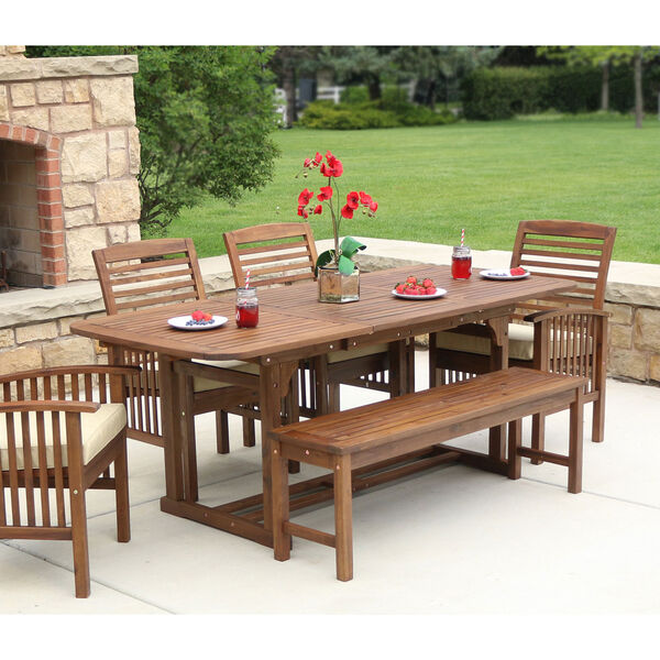 6-Piece Dark Brown Acacia Patio Dining Set with Cushions, image 4