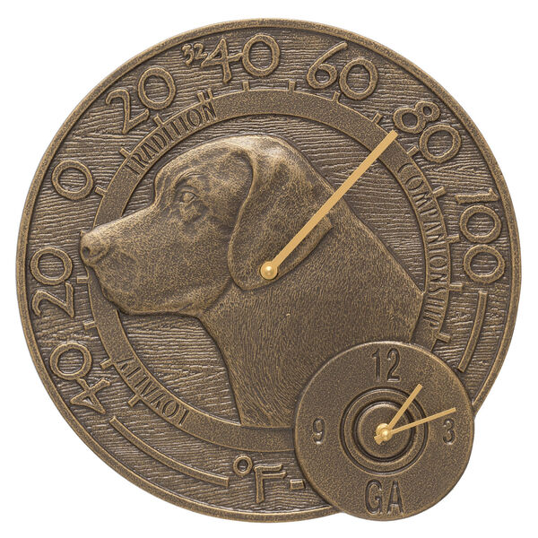 Labrador French Bronze Indoor Outdoor Wall Clock and Thermometer, image 1