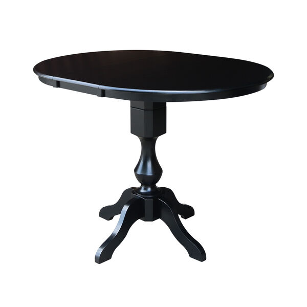 Black 36-Inch Curved Pedestal Counter Height Table with 12-Inch Leaf, image 3