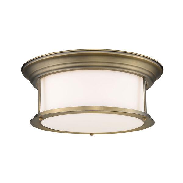 Sonna Heritage Brass Three-Light Flush Mount with Matte Opal Glass, image 1