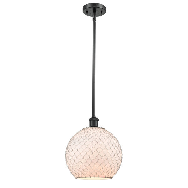 Ballston Matte Black 10-Inch One-Light Pendant with White Glass with Nickel Wire Glass and Metal Shade, image 1
