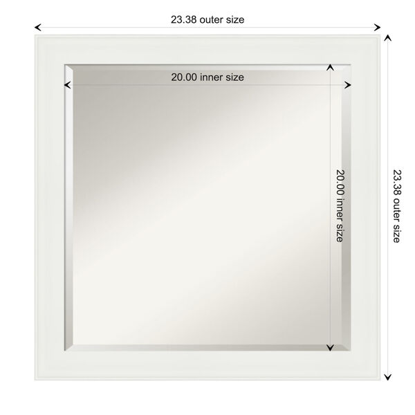 White 23W X 23H-Inch Bathroom Vanity Wall Mirror, image 6