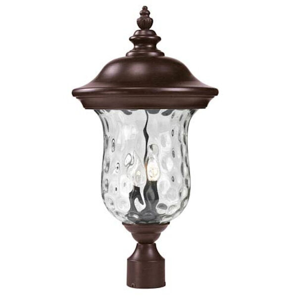Armstrong Two-Light Rubbed Bronze Outdoor Post Mount Light with Clear Waterglass, image 1