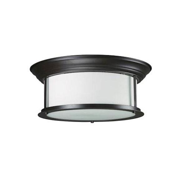 Sonna Three-Light Bronze Flush Ceiling Fixture with Matte Opal Glass, image 1