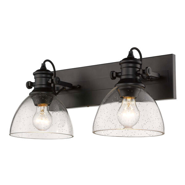 Hines Black Two-Light Semi-Flush Mount With Seeded Glass, image 3