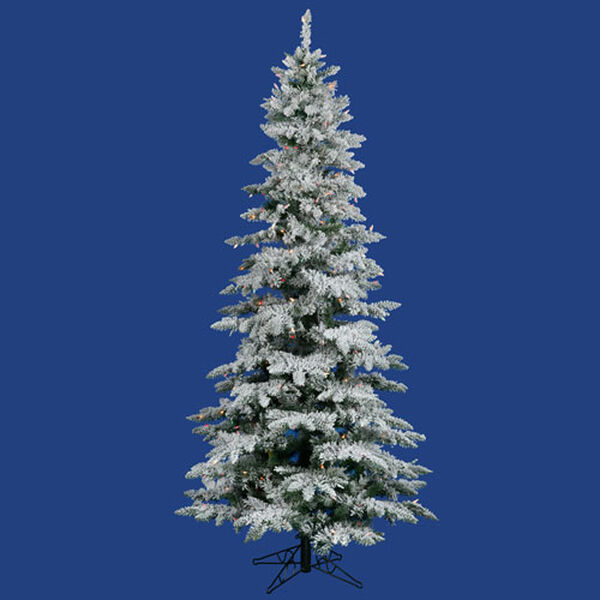 Flocked Utica Fir 6.5 Ft. Artificial Tree with 275 Multi Colored LED Lights, image 1