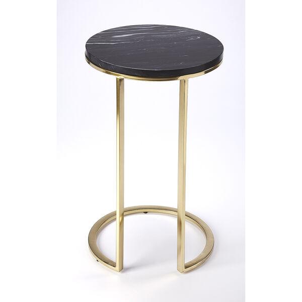 Butler Loft Polished Gold Martel Marble and Metal Side Table, image 2