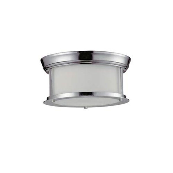Sonna Two-Light Chrome Flush Ceiling Fixture with Matte Opal Glass, image 1