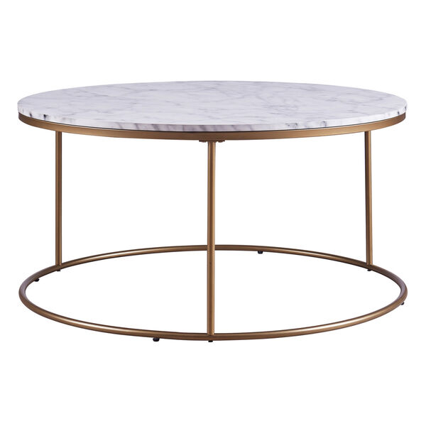 Marmo Faux Marble and Brass Round Coffee Table with Faux Marble, image 5