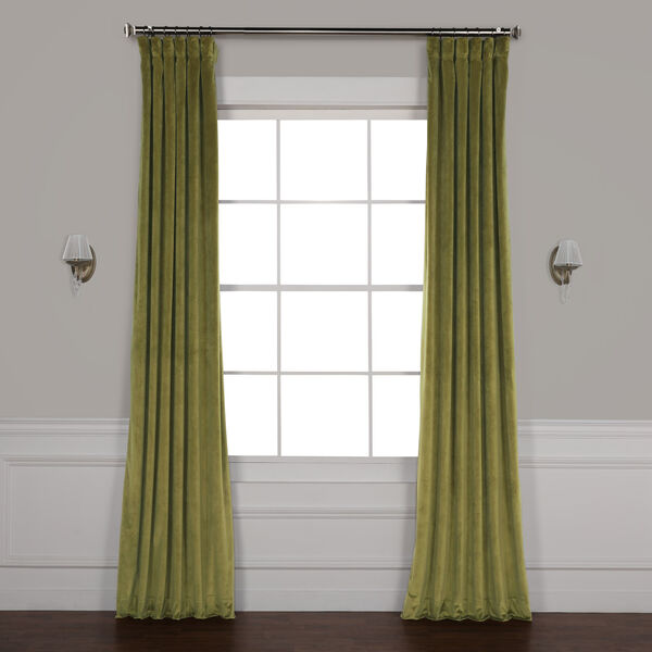 Green 84 x 50 In. Plush Velvet Curtain Single Panel, image 1