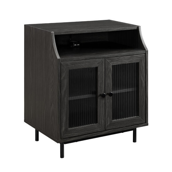 Graphite Fluted Glass Two Door Nightstand with USB, image 4