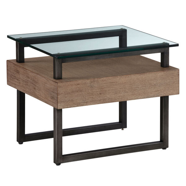 Slade Natural Rectangular End Table with Glass Top, image 1