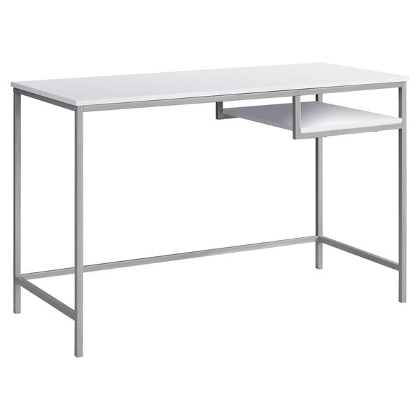 White and Silver 22-Inch Computer Desk with Open Shelf, image 1