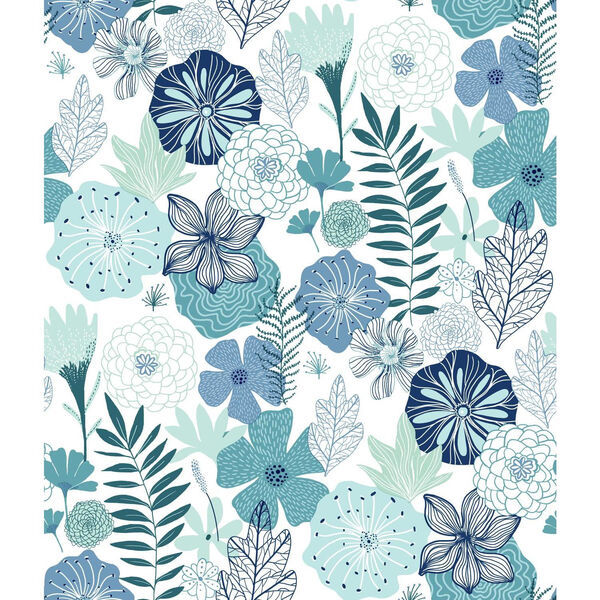Perennial Blooms Blue Peel and Stick Wallpaper - SAMPLE SWATCH ONLY, image 1