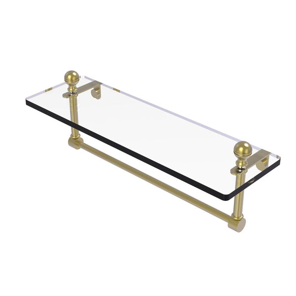 Mambo Satin Brass 16-Inch Glass Vanity Shelf with Integrated Towel Bar, image 1