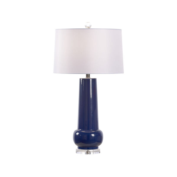 Classic Blue Glaze and White One-Light Table Lamp, image 1