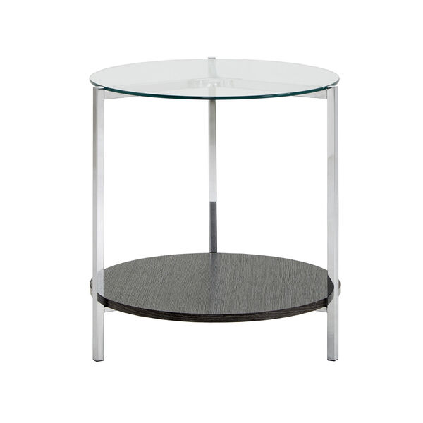 Alexia Chrome End Table with Glass Top, image 2