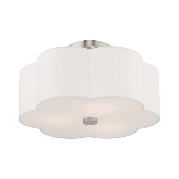 Chelsea Brushed Nickel 15-Inch Three-Light Ceiling Mount with Hand Crafted Off-White Hardback Shade, image 4