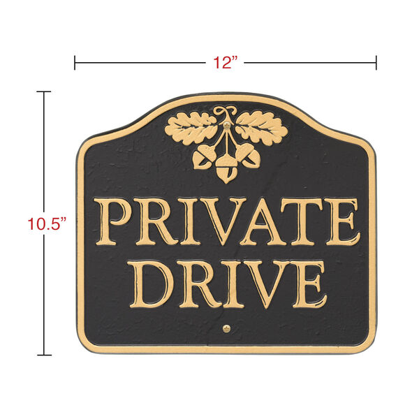 Black Gold Private Drive Sign  Cast Aluminum Wall or Lawn Mounting, image 3