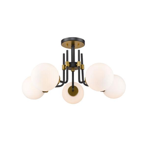 Parsons Matte Black and Olde Brass Five-Light Semi Flush Mount, image 1