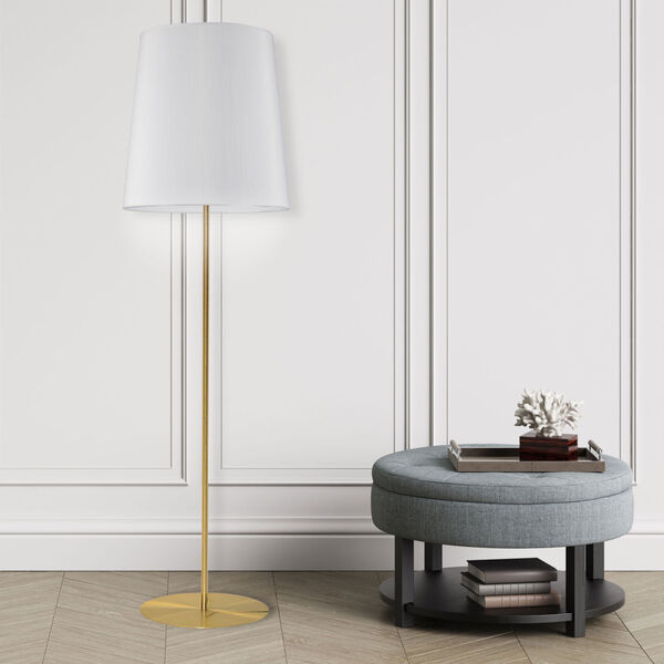 Aged Brass and White One-Light Minimalist Floor Lamp, image 2