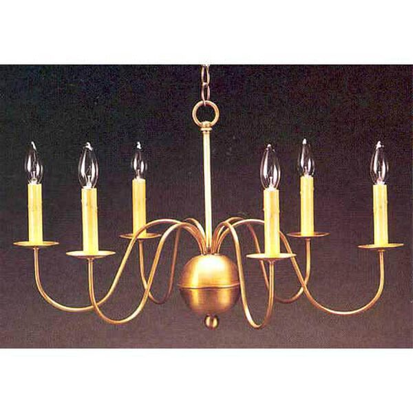Antique Brass Early American S-Arm Chandelier, image 1