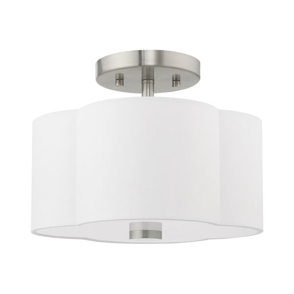 Chelsea Brushed Nickel 11-Inch Two-Light Ceiling Mount with Hand Crafted Off-White Hardback Shade, image 2