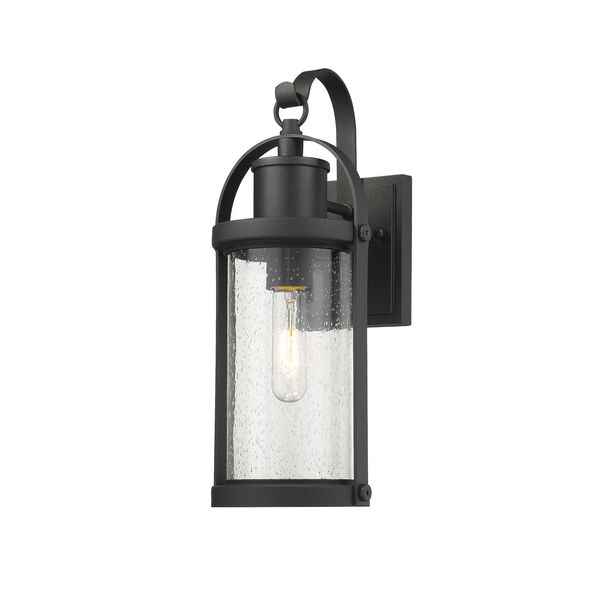 Roundhouse Black One-Light Outdoor Wall Sconce With Transparent Seedy Glass, image 1