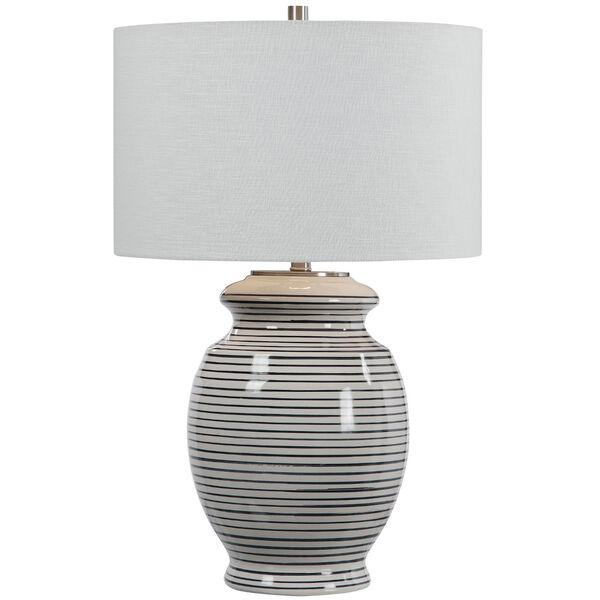 Marisa Brushed Nickel and Off-White Table Lamp, image 1