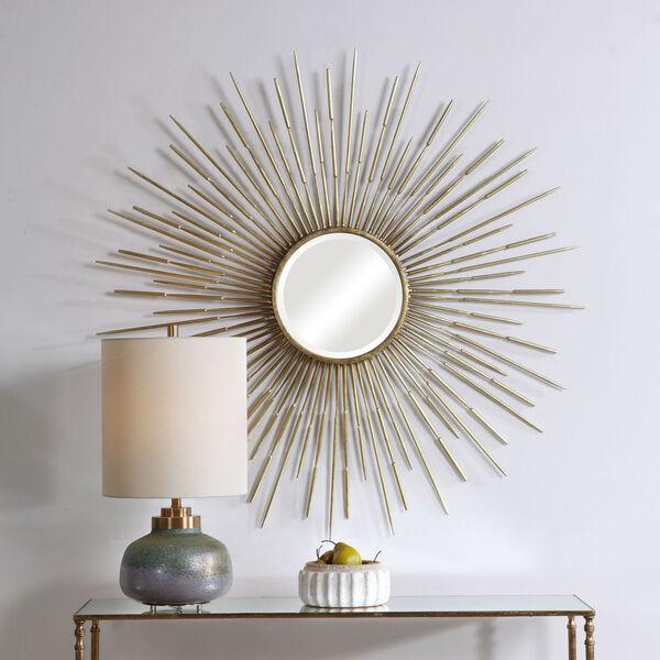 Golden Antiqued Gold Leaf Rays Starburst Mirror, image 1