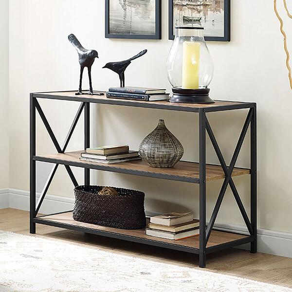 40-inch X-Frame Metal and Wood Media Bookshelf - Barnwood, image 1