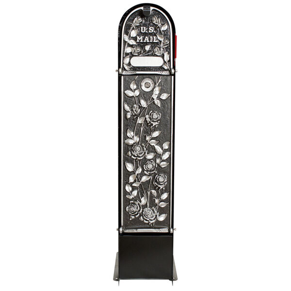 MailKeeper 150 Black and Silver 49-Inch Locking Column Mount Mailbox with Decorative Morning Rose Design Front, image 2