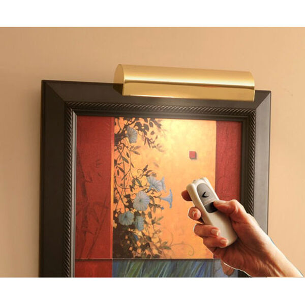 Slimline Polished Brass 8 Inch Cordless LED Remote Control Picture Light, image 2