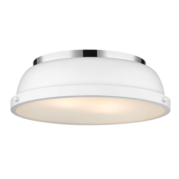 Duncan CH Chrome 14-Inch Two-Light Flush Mount with a Matte White Shade, image 1