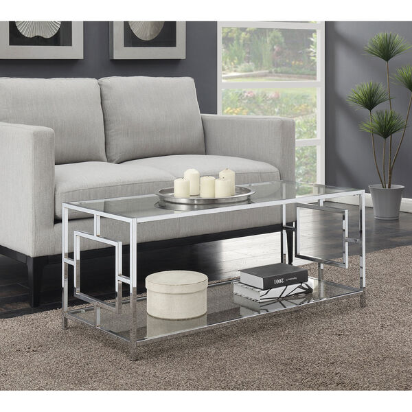 Town Square Coffee Table in Clear Glass and Chrome Frame, image 3