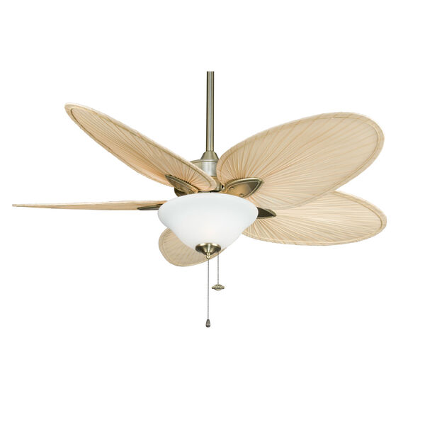 Windpointe Antique Brass Ceiling Fan with Narrow Oval Natural Palm Blades, image 4