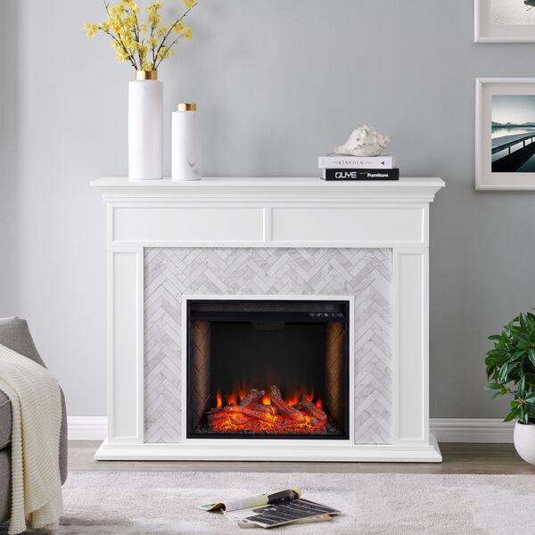 Torlington White Tiled Marble Electric Fireplace Mantel with Alexa Firebox, image 1