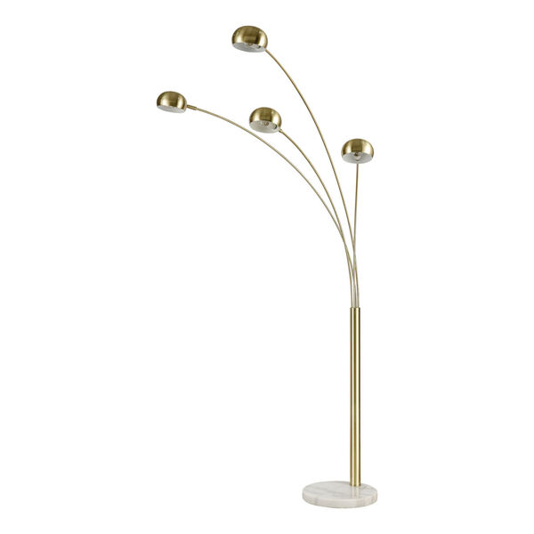 Skyline Satin Brass and White Marble 53-Inch Floor Lamp, image 2