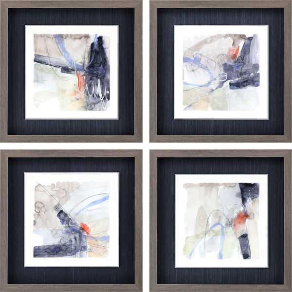 Blue 19 H x 19 W-Inch Abstract Coordinates Wall Art, Set of 4, image 2