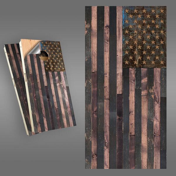 Rustic American Flag Cornhole Board Wrap Set, image 1