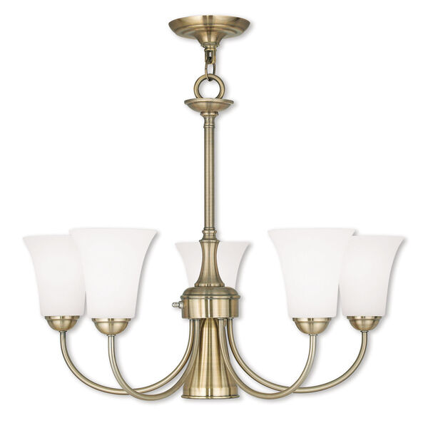 Ridgedale Antique Brass 25.5-Inch Six-Light Dinette Chandelier with Satin Opal White Glass, image 1