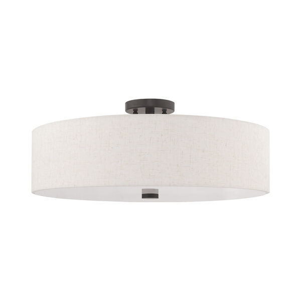 Meridian English Bronze 22-Inch Five-Light Ceiling Mount with Hand Crafted Oatmeal Hardback Shade, image 2