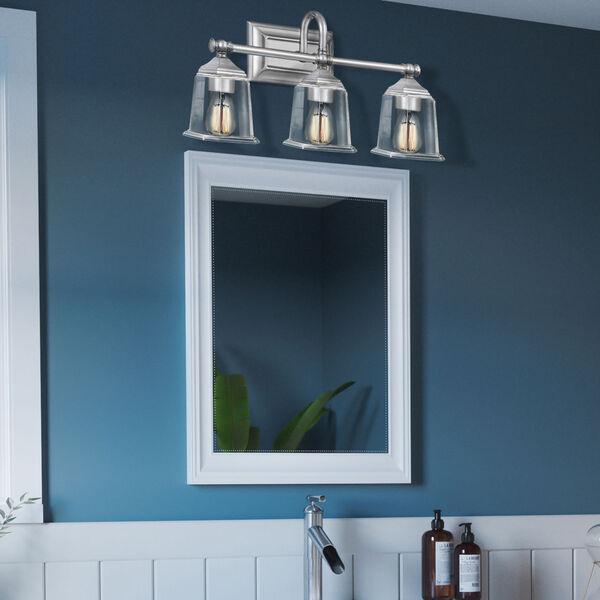 Nicholas Polished Chrome Three-Light Bath Vanity with Transparent Glass, image 7