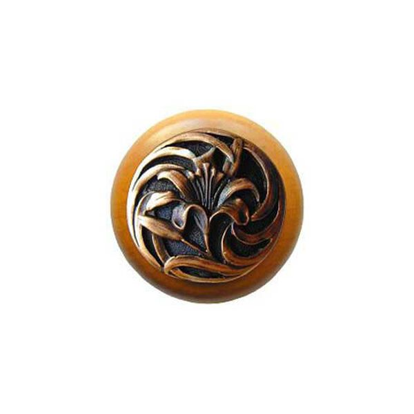 Maple Tiger Lily Knob with Antique Copper , image 1