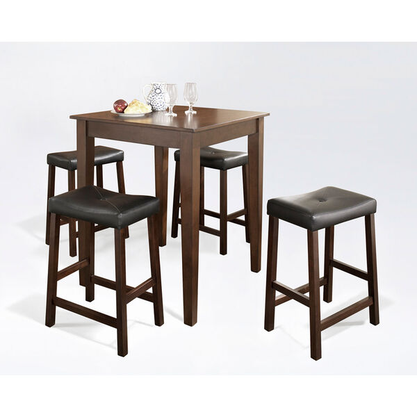 Five Piece Pub Dining Set with Tapered Leg and Upholstered Saddle Stools in Vintage Mahogany Finish, image 2