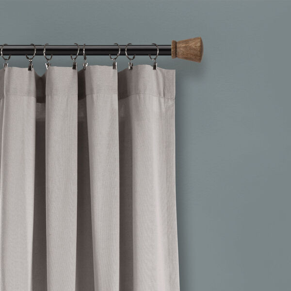 Linen Button Gray and White 40 x 108 In. Single Window Curtain Panel, image 3
