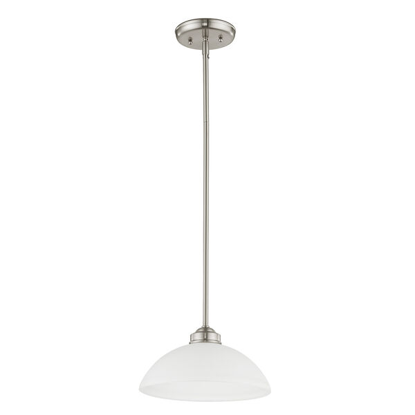 Somerset Brushed Nickel One-Light 11-Inch Pendant with Satin Glass, image 6