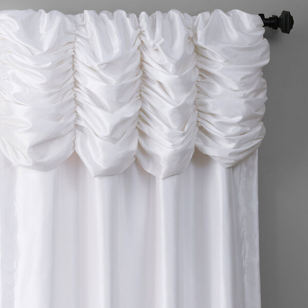 Ruched Eggshell 108 x 50-Inch Faux Silk Taffeta Curtain Single Panel, image 3