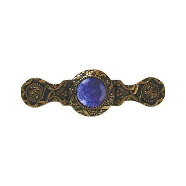 24 K Gold Plate Victorian Jeweled Pull with Blue Sodalite Stone, image 1