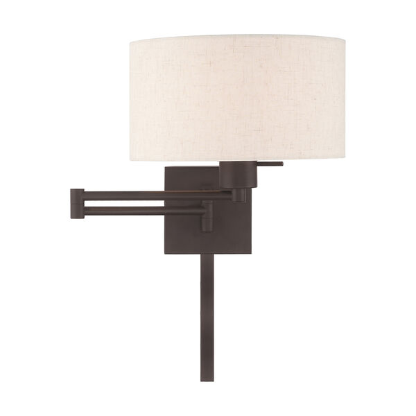 Swing Arm Wall Lamps Bronze 11-Inch One-Light Swing Arm Wall Lamp with Hand Crafted Oatmeal Hardback Shade, image 3